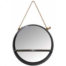 Miroir Métal noir avec 1 étagère