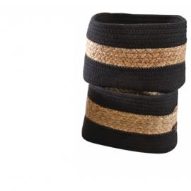 Corbeille en jacinthe et coton noir 36x25