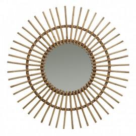 Miroir Soleil Rotin Naturel 70x70