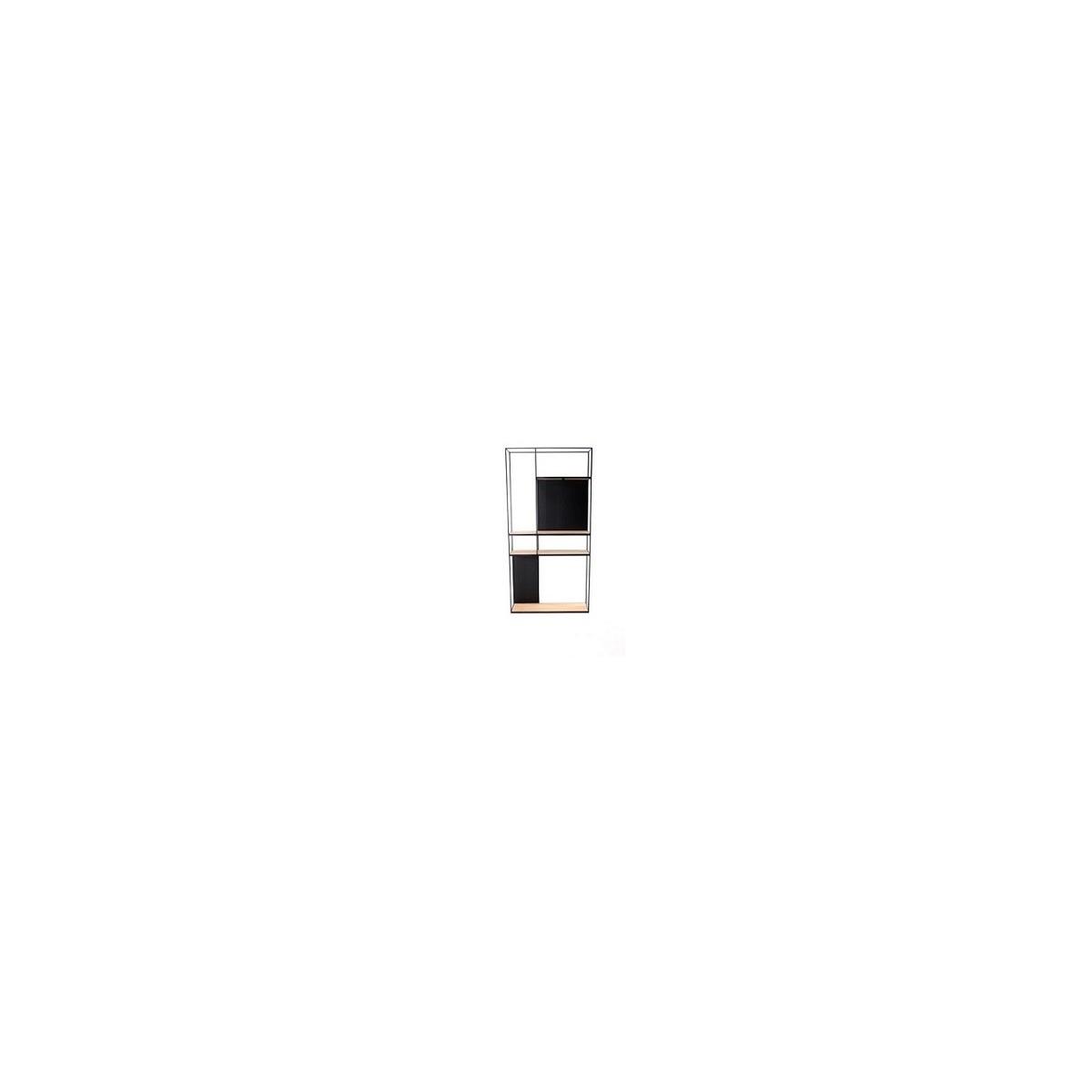 Etagère Rubic 90x180 en Métal noir et Chêne Naturel