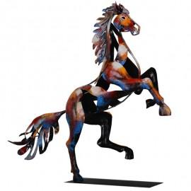 Sculpture Métal Cheval Cabré Pigment H50