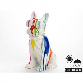 Statue Chien avec lunettes 80 cm Colorée Outdoor