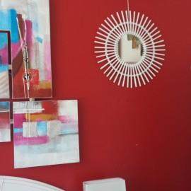 Miroir Soleil Rotin Blanc 55x55