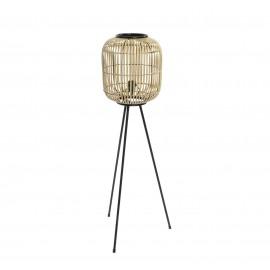 Lampadaire en métal et Bambou H116 cm