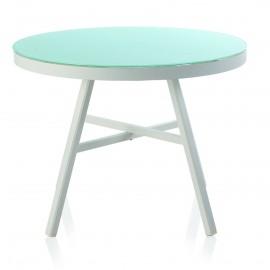 Table ronde 100x100 Cires Aluminium et Verre
