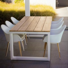 Table de repas Teck Outdoor Ugo 220x100cm Alu Blanc