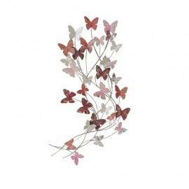 Déco Murale Métal Papillons Roses