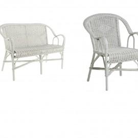 Salon Grand Père Blanc : Canapé + 2 fauteuils