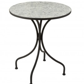 Table Bistrot Mosaique blanc Diam 60 cm