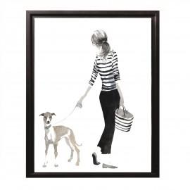 Tableau Femmes avec son Levrier 44x34