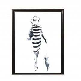 Tableau Femme avec son chien 44x34