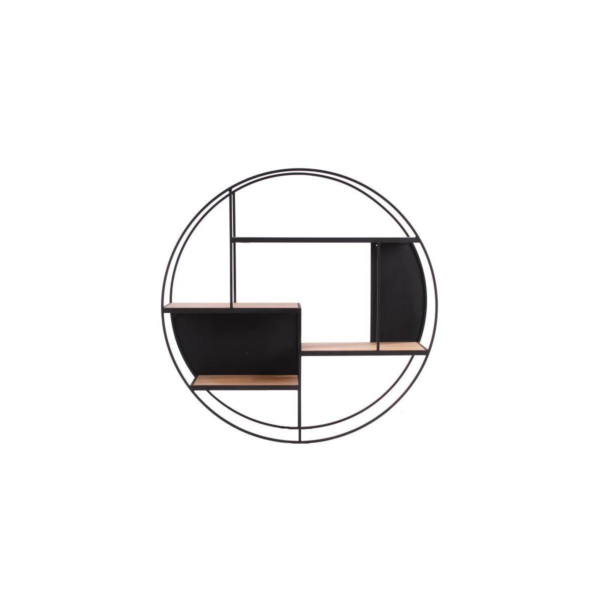 Etagère Rubic 110 cm en Métal noir et Chêne Naturel