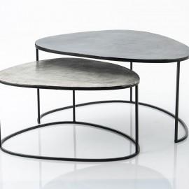 Série de 2 Tables Basses Aluminium Galet