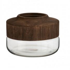 Vase en Verre Transparent et Bois 25x25