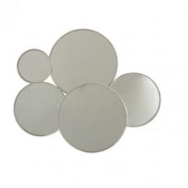 Miroir Métal 5 cercles Argent 86x72