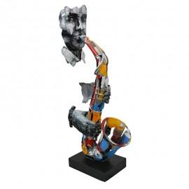 Sculpture Métal Saxophoniste Pigment