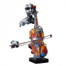 Sculpture Métal Violoncelliste Pigment