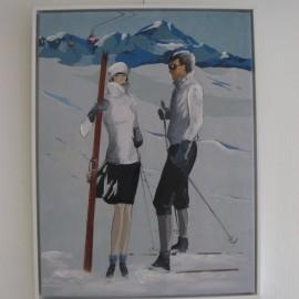 Tableau Couple de skieurs