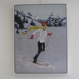 Tableau Skieuse à l'écharpe jaune