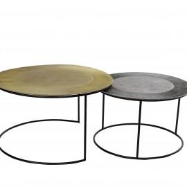 Série de 2 Tables Basses Dorée et Grise en Aluminium