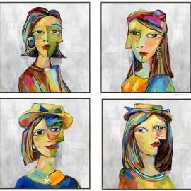 Tableau Femmes Picasso Blanc 40x40