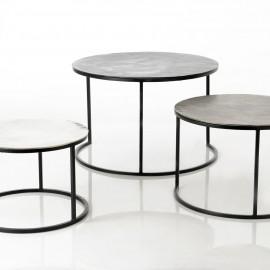 Série de 3 Tables Basses Grises en Aluminium