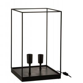 Lampe Iron Noir Cube 2 Lampes 31 x 50 cm