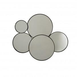 Miroir Métal 5 cercles Noir 86x72