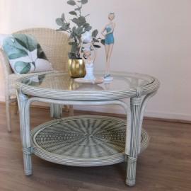 Table Basse en Rotin 77x77 Vert Essuyé