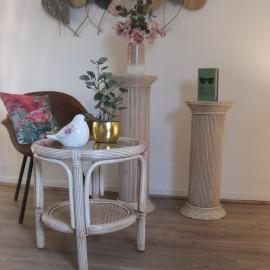 Table Basse en Rotin 55x55 Léon Rose