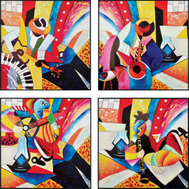 Tableau Jazz Multicolore 40x40