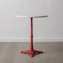 Table Bistrot marbre Pieds Rouge Diam 60 cm