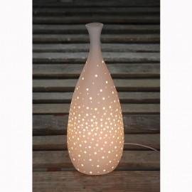 Lampe Porcelaine forme Bouillete H.42cm