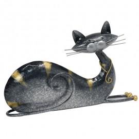 Deco Chat allongé Métal Gris Elancé H.17cm