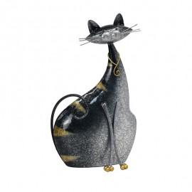 Deco Chat assis Métal Gris Elancé H.30cm