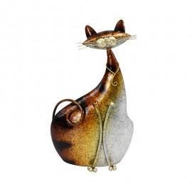 Deco Chat assis Métal Doré Elancé H.30cm