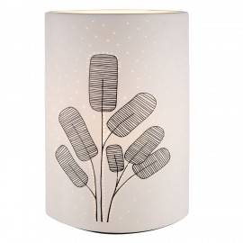 Lampe Porcelaine Feuillage Noir et Blanc H.28cm
