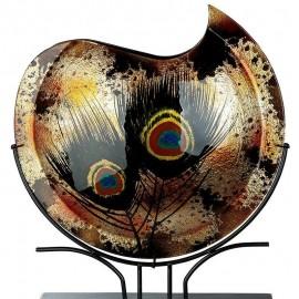 Vase Pâte de verre Paon H.52 cm