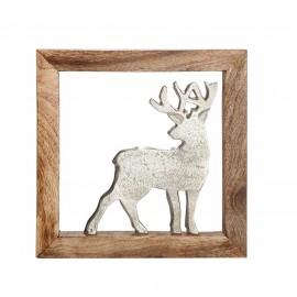Bois cadre en manguier et un cerf en aluminuim 20x20